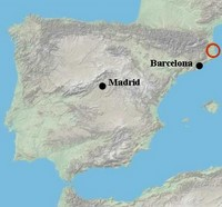 map location of catalan coast costa brava pyrenees and med